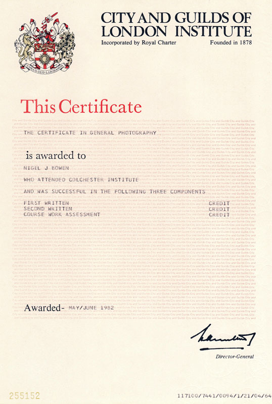 City and Guilds certificate